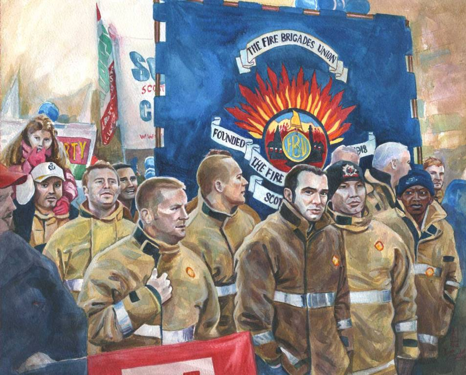 United painting of STUC march & Rally with FBU