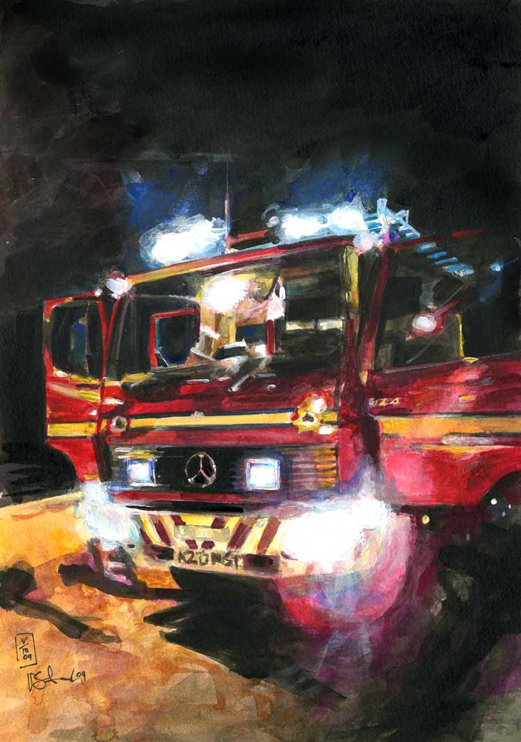 Fire engine painting by Vicky Stonebridge