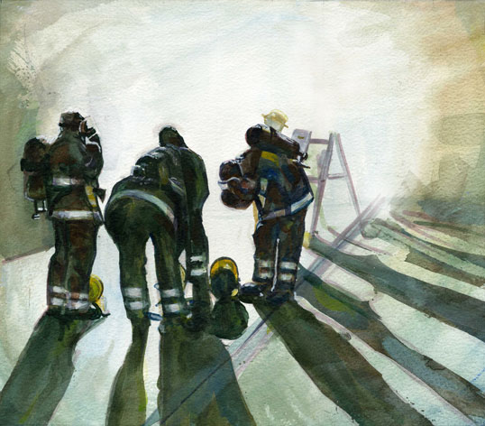 Going into Smoke firefighting painting