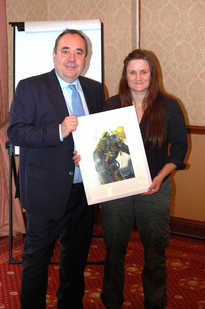 First Minister Alex Salmond presented with one of my paintings from FBU
