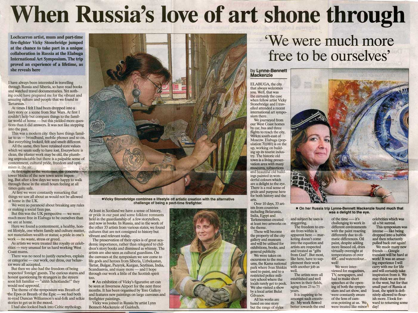 Ross shire journal russia trip article
